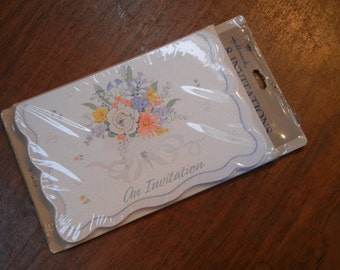 8 floral invitations - 1980s unused old stock - going old school