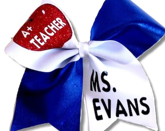 A+ Teacher Personalized  Hair Bow  Free to customize!