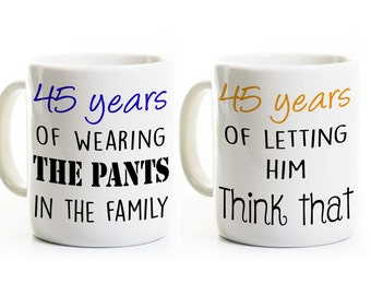 45th Anniversary Gift - Coffee Mugs - His and Hers - 45 Years Married - Wedding Anniversary Gift Set - Customized Personalized