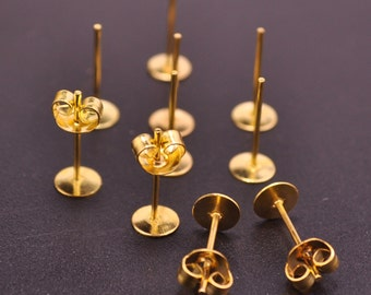 Gold Earring Studs--100 pairs 5mm Flat Pad Blank ,Gold Plated Earring Post With Back Stoppers Earnuts,5x12mm