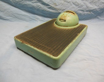 Awesome WORKING Vintage Art Deco Detecto Bathroom Scale - Mid-Century Modern Teal Industrial Metal Retro Scale
