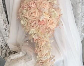 Blush Wedding Bridal Flowers Cascade Wedding Flower Bouquet-Brides Flowers-Wedding Bouquet-Ivory Wedding Flowers-Blush-Peach Wedding Bouquet