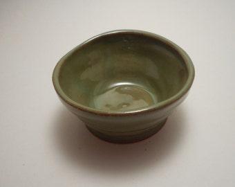 Small Green Stoneware Ceramic Bowl, Handmade Pottery, Hand Thrown, Hand Painted, Kitchenware, gift, decor (B0025)