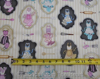 Home Sweet Home Baking Utensils Cooks Aprons on Tans  BY YARDS QT Cotton Fabric