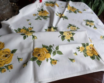 """Vintage 47"""" x 52"""" Square Cotton/Fabric Table Cloth-White-Yellow/Green Roses Design"""