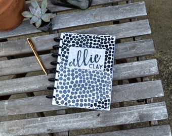 Custom Planner - Black Polka Dot Cover, Personalized, Disc Bound Agenda
