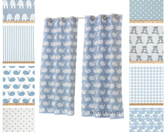 Nursery Curtains- Drapery Panels- Baby Blue Curtains- Boys Room Decor- Childrens Drapes- Blue Valance- Add Blackout Lining- Kids Curtains