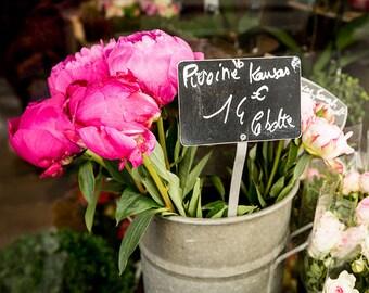 Paris Print, Paris Photography, Pink Flowers, Floral Wall Art, Paris Fine Art Photograph Home Decor, Paris Flower Photo - Market Flowers
