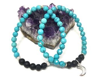 Howlite Turquoise / Lava Stone Stretch Bracelet Set