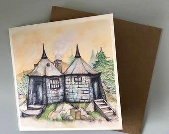 Illustrated Hagrid's Hut Hogwarts Harry Potter Birthday Christmas Card - Watercolour Harry Potter Art-