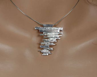 Sterling silver pendant, abstract, minimalist, statement, ooak