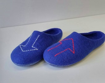 Felted wool slippers - For him - Man house wear