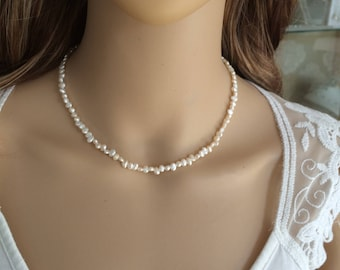 Tiny Freshwater pearl choker necklace simple pearl bridal necklace small seed pearl wedding necklace dainty bridal jewelry jewellery gift