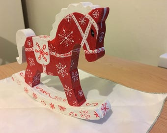 Hand painted decorative Christmas Rocking Horse ornament
