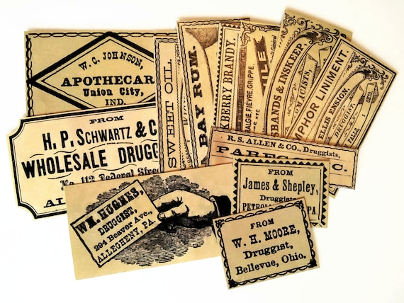 Drug store labels 12 reproduction vintage apothecary labels antique bottle labels vintage inspired medicine labels sticker pack