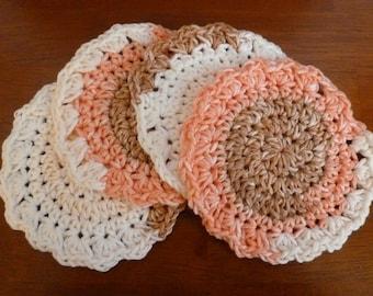 Crochet Fall Coasters  (Set of Four) - Ready to Ship -