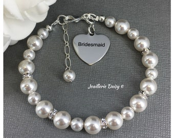 Gift for Bridesmaid Bracelet Swarovski Bracelet Wedding Jewelry Bridal Party Jewelry Charm Bracelet Gift for Bridesmaid