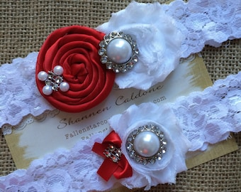 61 different colors / SCARLET /  Wedding garter / garter SET / wedding garters / bridal  garter/  lace garter / vintage lace garter