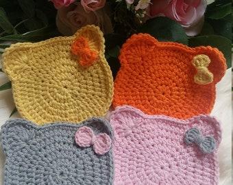 Kitty Cat Crochet Coasters: Set of 4