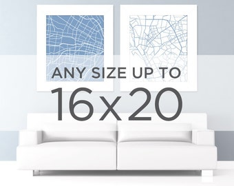 "16x20"" City Map Poster: Choose Your City and Color"