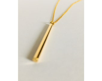 Necklace | o u r O | Sterling Silver | Gold | Tube | 20