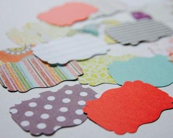 20 Paper Die Cuts . Scallop Bracket Shape Ephemera Cardstock Notebook Paper Scrapbooking Mixed Media Planner Supplies Listers Gotta List