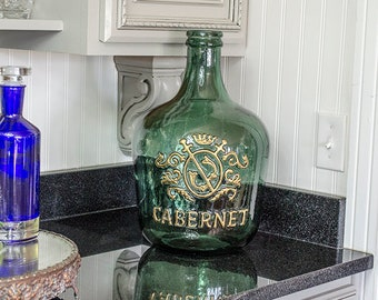 French Style Demijohn Bottle, Green Glass, Bas Relief Graphic