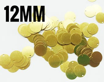 50/100/200 pcs, 12mm brass sequin, stamping tag, thin metal disc