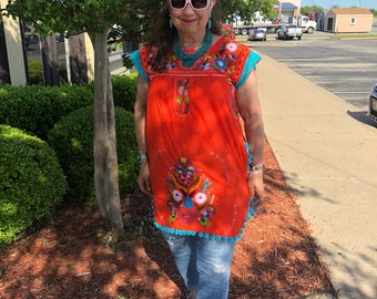 Custom Puebla tunic Mexican dress embroidery ladies womens small medium large xlarge plus