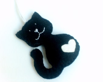 Smiling cat felt ornament - handmande Christmas decoration - hanging accents for nursery room - Baby shower gift for cat-lover