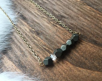 Pyrite and Herkimer Diamond Bar Layering  Necklace