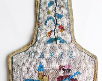 Bead embroidery 19th bib - minstrel of Mary - religious embrodery pearl decor