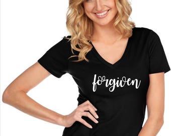 Custom Glitter Forgiven Christian Shirt | Christian Shirt for Women | women's Jesus Shirt