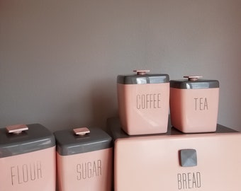 Nally Ware Vintage Pink & Gray kitchen canister set with breadbox