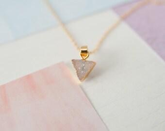 Triangle Druzy, Triangle Pendant, Purple Druzy Necklace, Lilac Druzy Pendant, Purple Quartz Necklace, Purple Gemstone Pendant, Druzy