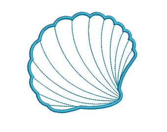 Sea Shell Seashell Clam Applique Design Embroidery Fill Design  Machine Instant Download Digital File EN1045BF