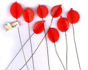 vintage GLASS LEAVES on wire orange RED color brass stem eight bendable glass art glass leaves antique glass findings