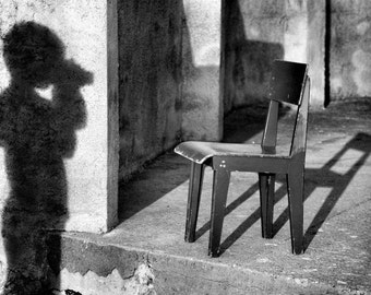 When I was young - Conceptual Photography, Composition, Wall Art Decor, Urban Photography, Black and White photo,  Boy, Shadow, Chair, Photo