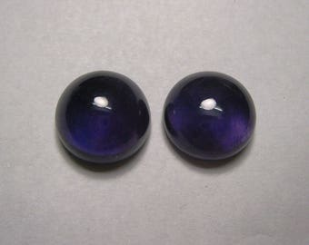 Natural African Amethyst Cabochon Round shape Pair Loose Semi Precious Gemstone Size 14 mm ET 227 Wholesale