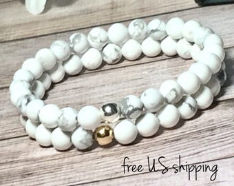 AAA White Howlite Beaded Bracelet, Beaded Bracelets for Women, Bead Bracelet Women, Silver, Gold, 6mm, DreamCuff, Free Shipping Jewelry