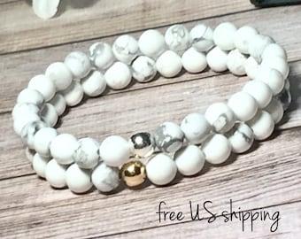 AAA White Howlite Beaded Bracelet, Beaded Jewelry, Beaded Bracelets Women, Gemstone Bracelet Silver Gold 6mm DreamCuff Jewelry Free Shipping