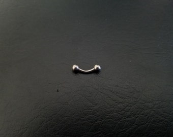 "16g 1/4"" (6mm) 5/16"" (8mm) Solid Titanium Curved Barbell Eyebrow Daith Septum Tragus VCH Helix Vertical Labret Snug Rook Titanium Jewelry"