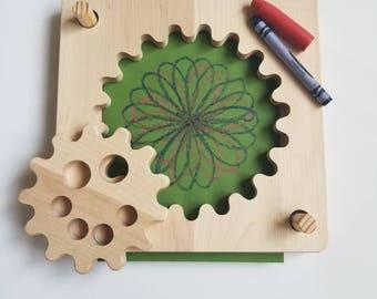 Wooden spirograph, toddler spiral drawing kit