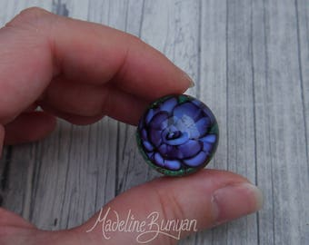 Everlasting Rose Marble, Purple , unusual gift, collectible glass art, sphere, lampwork, flower, valentines gift, gift for her