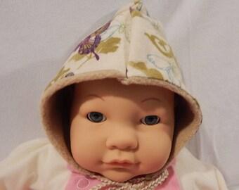 Elfin Toddler Hat w/ Butterflies and Vines Print in Flannel & Fleece
