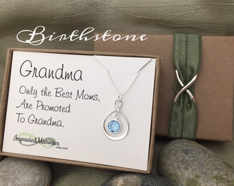 New Grandma Gift - Best moms promoted to grandma to be - Pregnancy Announcement - Gender Reveal - Birthstone Gift for New Grandma Gifts