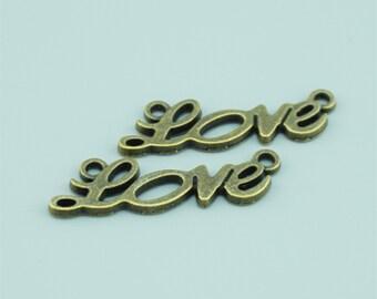 50pcs 34X11mm Antique Bronze Love Charm Pendants,Love Connectors,Letter Charms Pendants Connectors Z6730A