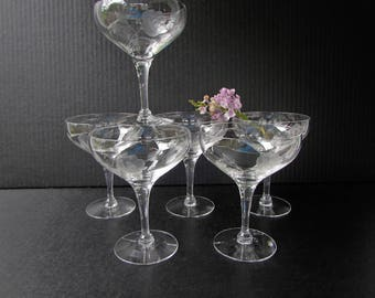 6 Vintage Crystal Champagne Glasses - Coupe Style - Stemmed Rose Pattern - Etched - Hollywood Regency Glam - Coupe Champagne - Deep Bowl