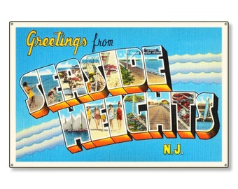 Seaside Heights New Jersey nj Old Retro Vintage Travel Postcard Reproduction Metal Sign Art Wall Decor STEEL not tin 36x24 FREE SHIPPING