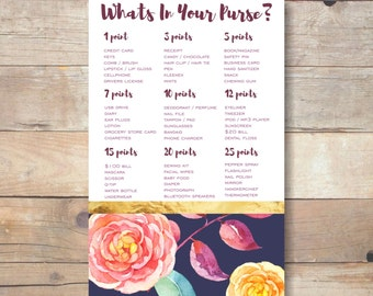 purse game, navy bridal shower, whats in your purse, bridal shower game printable, floral printable game, bachelorette party game - br46